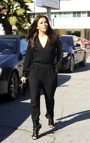 Eva Longoria was spotted at the Saban Theater wearing a loose black jumpsuit.