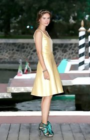 Kasia Smutniak was a drop of sunshine in her yellow Valentino cocktail dress at the Venice Film Festival.
