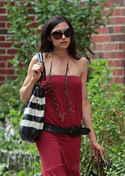 Famke Janssen styled her look with a long beaded necklace while out for a walk in SoHo.