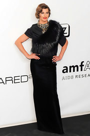 Linda Evangelista stepped out at the amFAR gala wearing a luxurious gown.