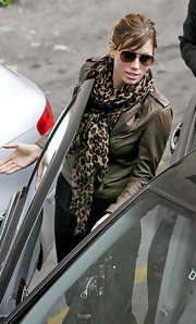 Jessica Biel looked fierce in this patterned scarf and leather jacket combo.