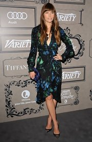 Jessica Biel paired her dress with always-on-trend cap-toe pumps by Louis Vuitton.