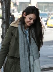 Katie Holmes headed out in New York City wearing a knit scarf in two shades of gray.