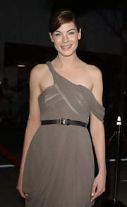 Michelle Monaghan paired a brown leather belt with an off-the-shoulder dress for the LA premiere of 'Gone Baby Gone.'