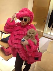 Lady Gaga accessorized with a hot-pink chain-strap purse to match her fur coat.