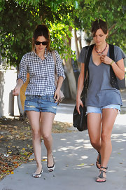 Rachel Bilson teamed her top with studded jean shorts by Current/Elliott.