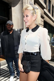 Pixie Lott headed to BBC Radio Two wearing a cute white blouse with a contrasting black Peter Pan collar.