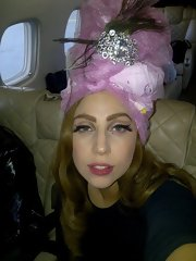 Lady Gaga looked exotic in this bejeweled lavender turban!