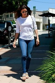 Eva Longoria stayed low-key in a long-sleeve white T-shirt and skinny jeans while out and about in LA.