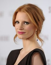 Jessica Chastain wore a sexy-glam loose updo to the premiere of 'Somewhere.'