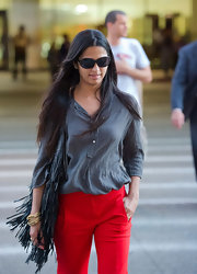 Camila Alves hid her eyes behind a pair of oval shades while making her way through LAX.