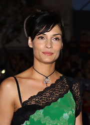 Famke Janssen wore a Givenchy pendant collar necklace at the 'X2: X-Men United' premiere.