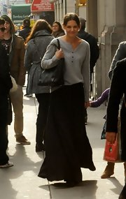 Katie Holmes took a stroll wearing a gray henley sweater.
