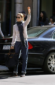 Jessica Biel was spotted out in NYC rocking baggy jeans and a striped sweater.
