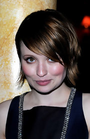 Emily Browning rocked a layered razor cut with emo bangs at the London premiere of 'Sucker Punch.'