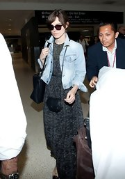 In addition to a large black tote, Keira Knightley carried a cute black Jerome Dreyfuss Momo bag.