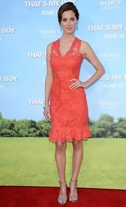 "This orange lace overlay dress played the perfect complement to Eva's lovely complexion at the world premiere of ""That's My Boy"" in Los Angeles."