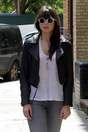 Daisy Lowe stepped out in London wearing a cool pair of printed round sunglasses.