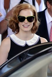 Jessica Chastain was spotted outside her hotel in Cannes sporting an ultra-modern pair of neon yellow-rimmed sunglasses.