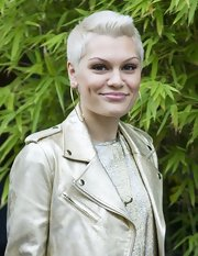 Jessie J was spotted at the ITV Studios rocking this platinum-blonde fauxhawk.