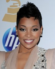 Monica wore her hair in a fauxhawk at the 2011 pre-Grammy party.