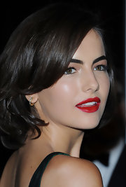 Camilla Belle kept her styling low-key with a pair of small diamond hoops when she attended the Hollywood Awards Gala.