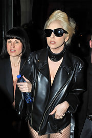 Lady Gaga went shopping wearing an oversized leather choker to match her jacket.