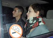 Emma Watson kept snug with an Alice by Temperley Aztec scarf while out clubbing in Soho.
