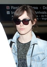 Keira Knightley hid her eyes behind a pair of square sunnies while making her way through LAX.