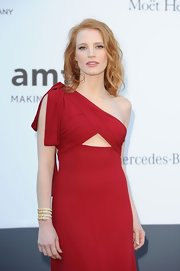 Jessica Chastain attended the amfAR Cinema Against AIDS Gala wearing a stunning Bulgari serpent bracelet.