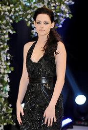 Kristen Stewart styled her Roberto Cavalli gown with a broad black belt by Alexander McQueen for the London premiere of 'The Twilight Saga: Breaking Dawn – Part 1.'