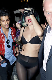 Lady Gaga completed her head-turning look with a pair of bejeweled leather gloves.