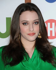 Kat Dennings sported a simple center-parted 'do with wavy ends during the CBS TCA party.