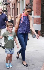 Katie Holmes looked summery in a blue polka-dot halter top while out and about.