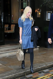 Kate Bosworth looked darling in a Mulberry denim mini dress with gold buttons as she left the Covent Garden Hotel.