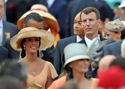 Princess Marie accessorized with a wide-brimmed hat at the royal wedding of Prince Albert II of Monaco and Charlene Wittstock.