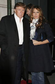 Melania Trump finished off her cold-weather attire with a patterned scarf.