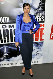 Kasia Smutniak stood out in an electric-blue blazer, vest, and bustier combo at the premiere of 'From Paris with Love.'