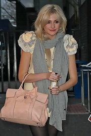Pixie Lott accessorized with a gray pashmina for some warmth to her mini dress as she left the GMTV Studios.