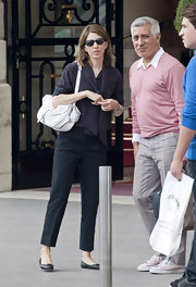 Sofia Coppola was spotted outside the Ritz Paris carrying a perforated white leather bag by Louis Vuitton.