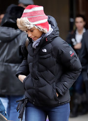 Camila Alves completed her winter outfit with a fur-lined cap.
