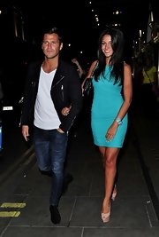 Michelle Keegan teetered on a towering pair of Christian Louboutin peep-toe pumps.