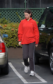 Katie Holmes was casual and sporty in a red half-zip sweater by Nike while out in Sherman Oaks.