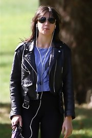 Daisy Lowe looked cool in aviator sunglasses and a leather jacket while out on a stroll.