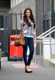 For her arm candy, Michelle Keegan picked a camel-colored leather tote by Mulberry.