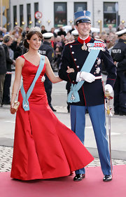Princess Marie was a vision in a red ballgown at the celebration of Queen Margrethe II's 70th birthday.