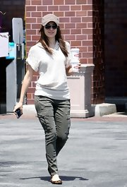 Emmy Rossum was tough-chic in gray cargo skinnies while getting coffee at Ralph's.