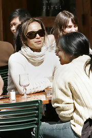 Padma Lakshmi was spotted out looking sporty in a pair of Chanel shield sunglasses.