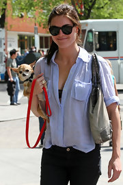 Hilary Rhoda was spotted out and about wearing a pair of wayfarers.