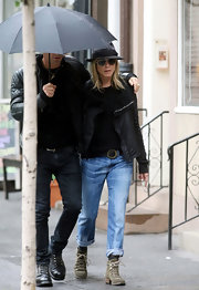 Jennifer Aniston strolled around New York City wearing a black Rick Owens leather jacket and a pair of boyfriend jeans.
